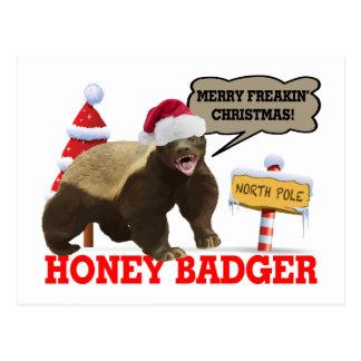 Cartão Postal Natal alegre de Freakin do texugo de mel