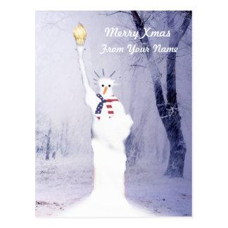 Cartão Postal Natal americano patriótico engraçado do boneco de