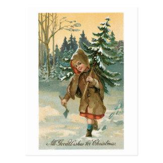Cartão Postal Natal antiquado, árvore de Natal