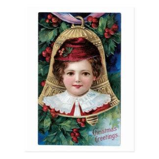 Cartão Postal Natal antiquado, menina