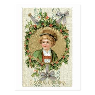Cartão Postal Natal antiquado, menino