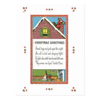 Cartão Postal Natal antiquado, papai noel