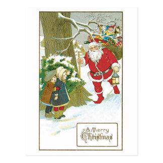 Cartão Postal Natal antiquado, papai noel com Chirdren