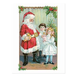 Cartão Postal Natal antiquado, papai noel com meninas