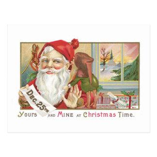 Cartão Postal Natal antiquado, papai noel com Tonttu