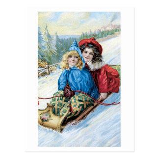 Cartão Postal Natal antiquado, Sledding