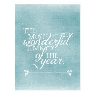 Cartão Postal Natal azul com citações