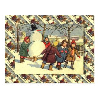 Cartão Postal Natal, boneco de neve e crianças do russo do