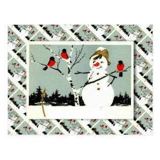 Cartão Postal Natal, boneco de neve e robins do russo do vintage