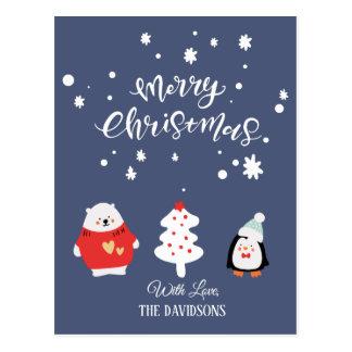 Cartão Postal Natal bonito azul e branco