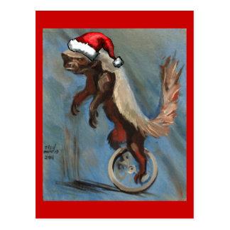 Cartão Postal Natal com texugo de mel