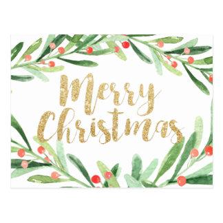 Cartão Postal Natal da grinalda do azevinho