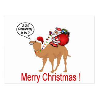 Cartão Postal Natal do camelo do dia de corcunda com papai noel