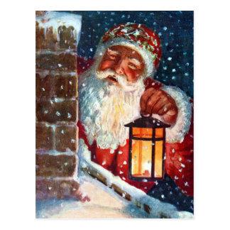 Cartão Postal Natal do pai de Papai Noel do vintage no telhado