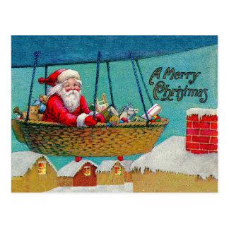 Cartão Postal Natal do papai noel do dirigível do vintage