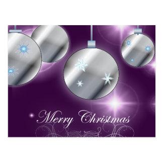 Cartão Postal Natal do roxo do ornamento do feriado