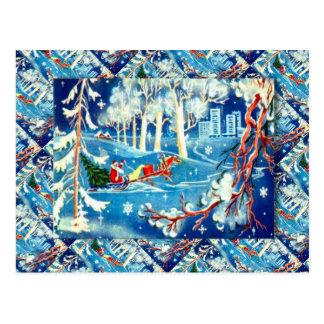 Cartão Postal Natal do russo do vintage, a viagem do papai noel