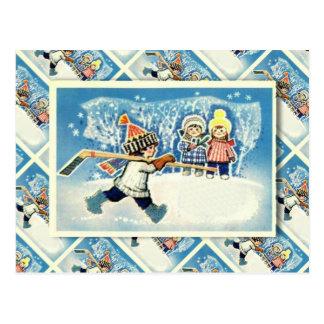 Cartão Postal Natal do russo do vintage, jogador de hóquei em