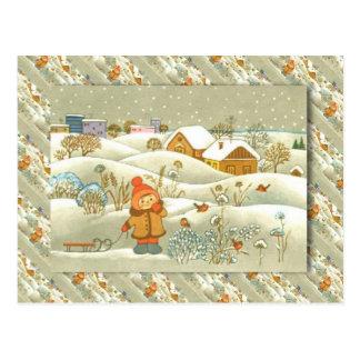 Cartão Postal Natal do russo do vintage, menina com um pequeno