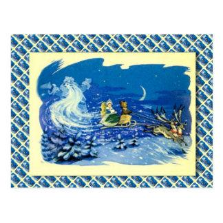 Cartão Postal Natal do russo do vintage, papai noel fantasma