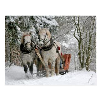 Cartão Postal Natal dos cavalos de esboço