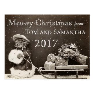 Cartão Postal Natal engraçado do gato do vintage do Natal de