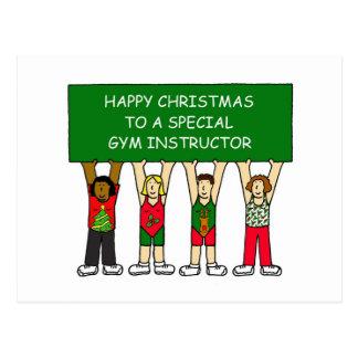 Cartão Postal Natal feliz de instrutor de Gym