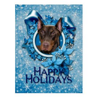 Cartão Postal Natal - floco de neve azul - Doberman - rochoso