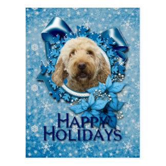 Cartão Postal Natal - floco de neve azul - Goldendoodle
