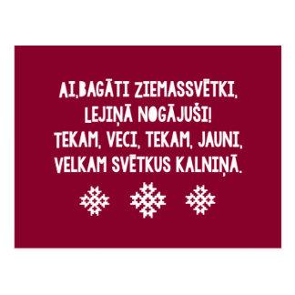 Cartão Postal Natal letão FolkSong Latviesu Tautasdziesma