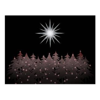 Cartão Postal Natal moderno das árvores brancas silenciosas da