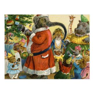Cartão Postal Natal na terra animal