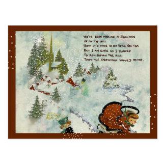 Cartão Postal Natal nevado do vintage