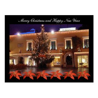 Cartão Postal Natal no La Piazzetta de Capri com poinsétia