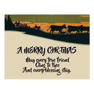 Cartão Postal Natal ocidental do rancho de Bull do Victorian