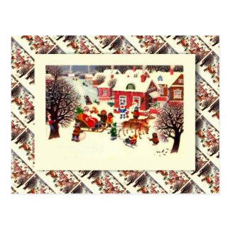 Cartão Postal Natal, papai noel e crianças do russo do vintage