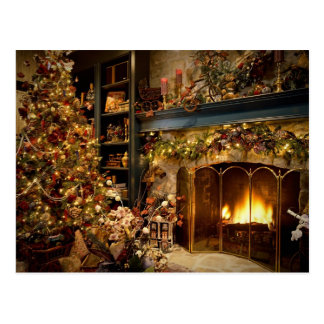Cartão Postal Natal pela lareira
