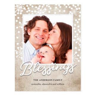 Cartão Postal Natal religioso das bênçãos simples de Bokeh