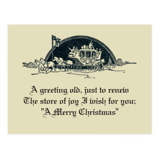Cartão Postal Natal rústico do Stagecoach do Victorian do