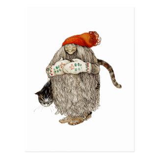 Cartão Postal Natal Tomten da avó com gato cinzento