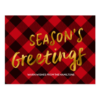 Cartão Postal Natal vermelho da folha do búfalo dos cumprimentos