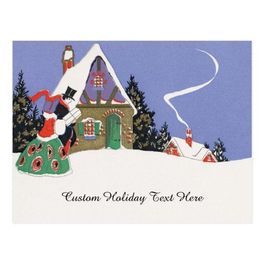 Cartão Postal Natal vintage, casal do Victorian que vai Party