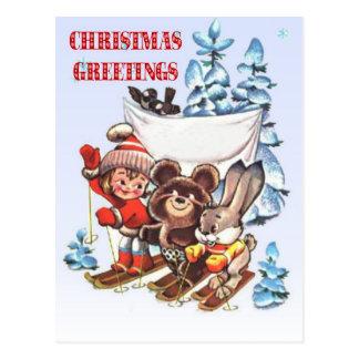 Cartão Postal Natal vintage, criança e animais em esquis