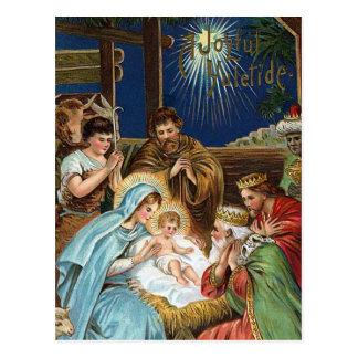 """Cartão Postal """"Natal vintage de Yuletide alegre"""""""