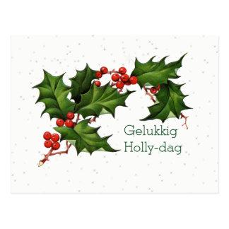 Cartão Postal Natal vintage do Dag do azevinho de Gelukkig do