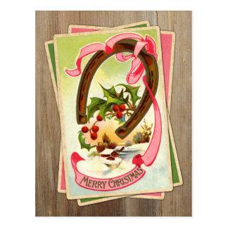 Cartão Postal Natal vintage ferradura & cena w/Holly do inverno