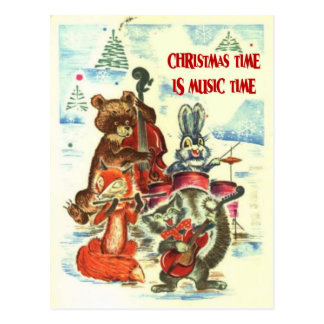Cartão Postal Natal vintage, grupo animal da música
