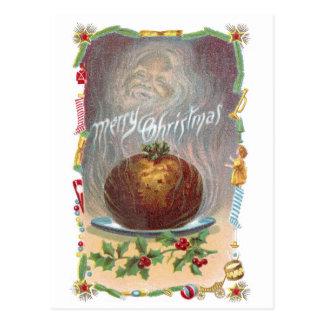 Cartão Postal Natal vintage húmido do pudim de ameixa