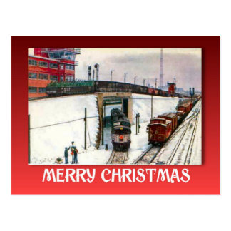 Cartão Postal Natal vintage, junção Railway na neve