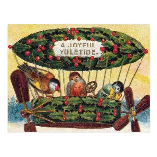 Cartão Postal Natal vintage - pássaros em um dirigível